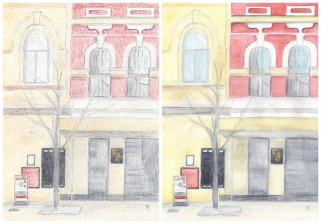 Work in progress #1 – watercolour pencil sketch Work in progress #2 – after adding water
