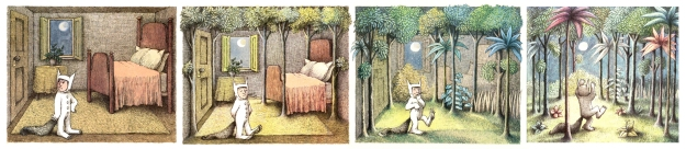 Maurice Sendak – illustrations from Where the Wild Things Are (1963) Images from http://mrbiggs.com