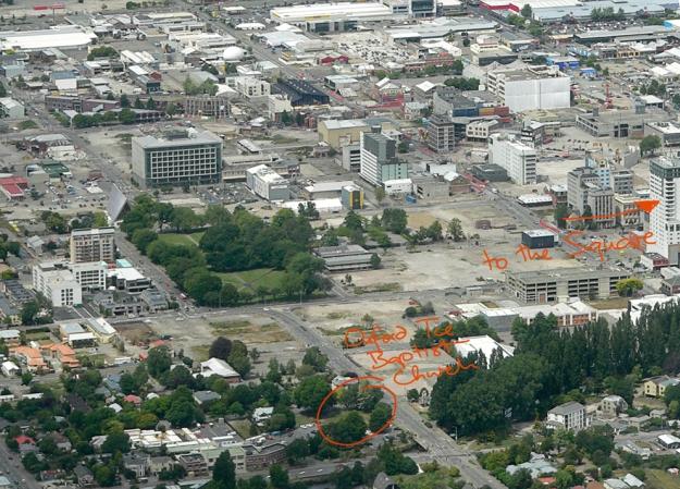 Where Oxford Terrace Baptist Church isn't, Christchurch, 2013