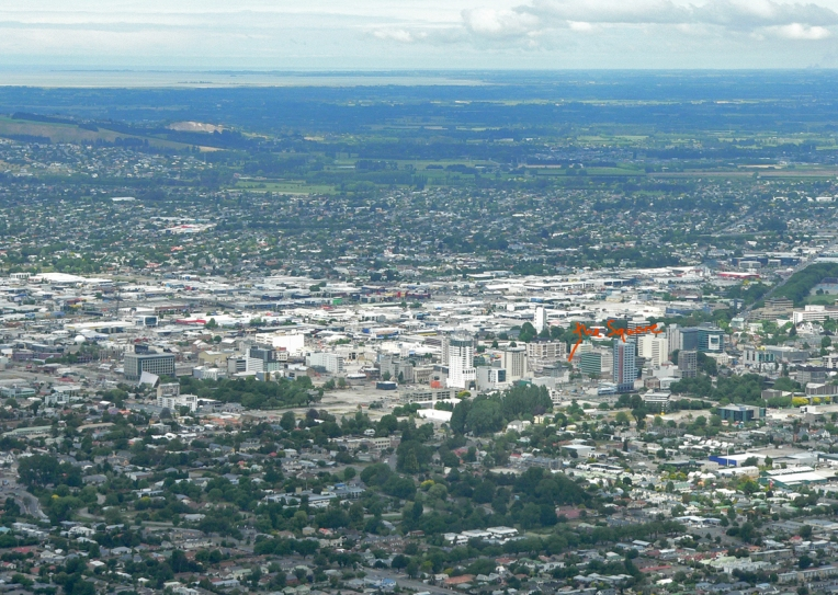 Christchurch, looking southwest, December 2013