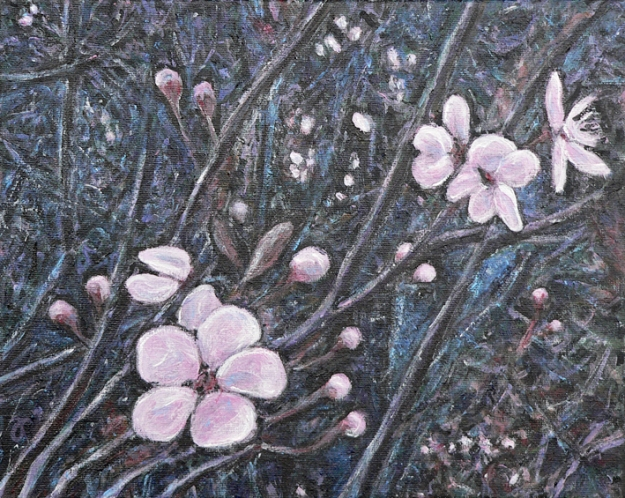 Spring blossoms – acrylic on canvas, 240 x 300 mm, 2014