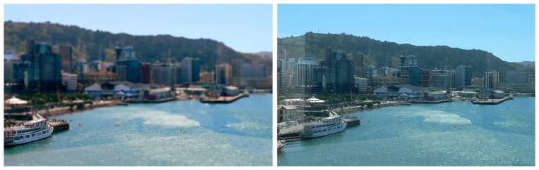 Wellington Harbour — edited photograph (left), 2013 and original photograph (right), 2008