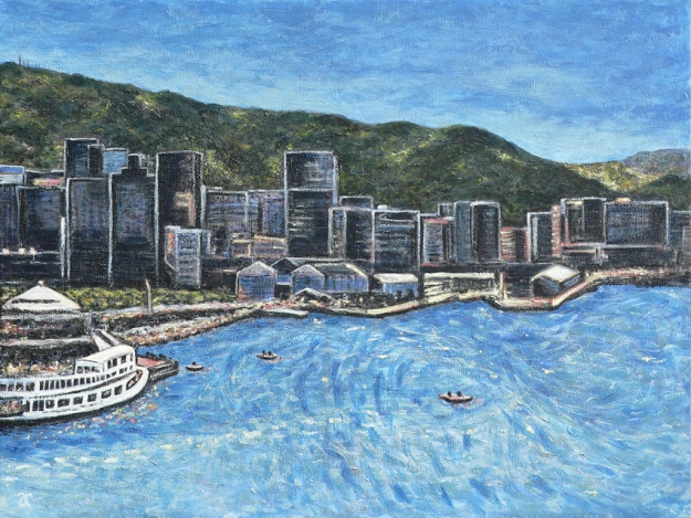 Wellington Harbour – acrylic on canvas, 455 x 610 mm, 2014