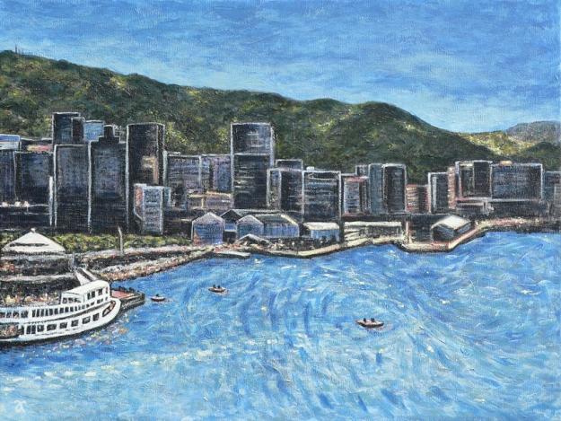 Wellington Harbour – acrylic on canvas, 455 x 610 mm, 2014