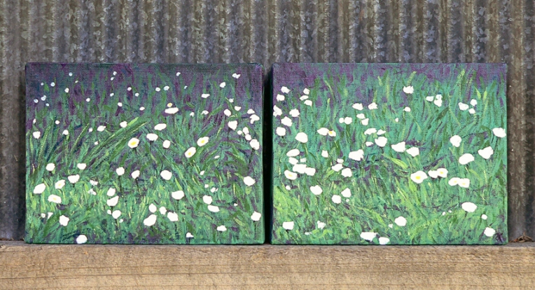 Diptych of daisies – acrylic on canvas, 175 x 230 mm (each), 2014