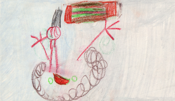 I like painting at school – primary school drawing, crayon on paper, c. 1970