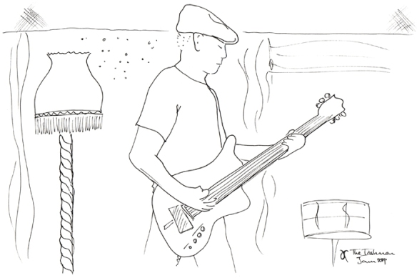 Jamming at The Irishman, Christchurch – ink sketch, 2014