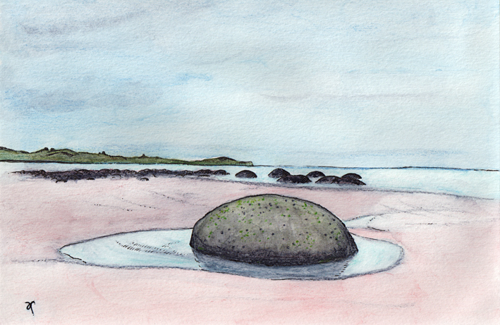 Moeraki Boulders – ink and watercolour sketch, 135 x 210 mm, 2014