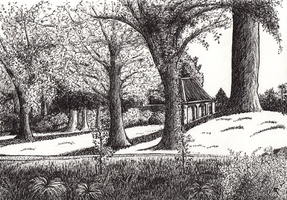 The riverbank – ink on paper, 145 x 210 mm, 2014