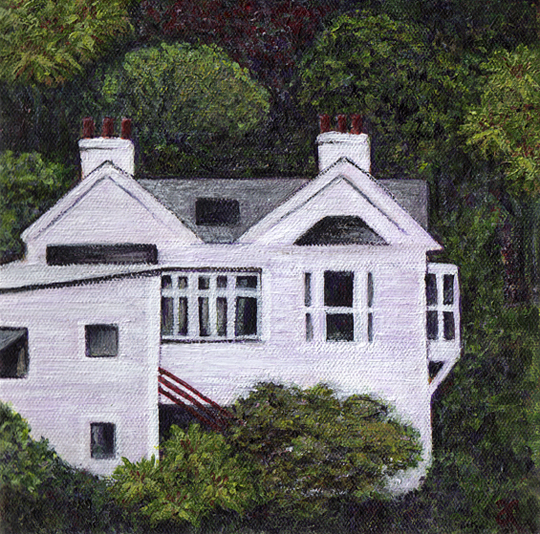 White house, Dunedin – acrylic on canvas, 200 x 200 mm, 2014