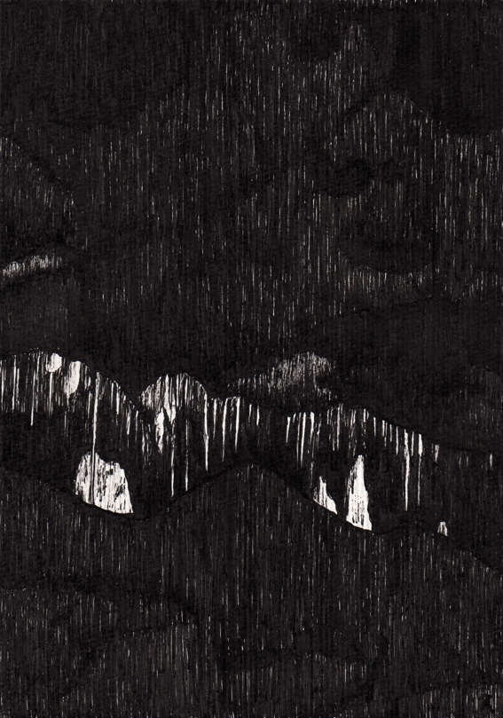 Jewel Cave, ink sketch prior to editing
