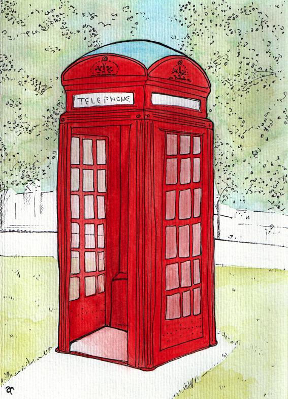 Phone box sketch – ink and watercolour study, 200 x 145 mm, 2014