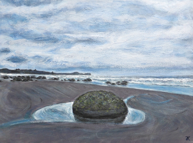 Moeraki boulders (one) – acrylic on canvas, 305 x 405 mm, 2014