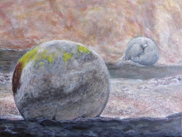 Moeraki boulders (two) – acrylic on canvas, 305 x 405 mm, 2014