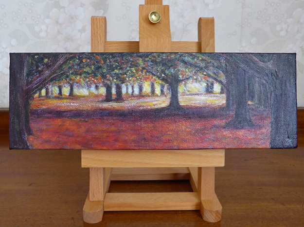 Through the trees — acrylic on canvas, 100 x 305 mm, 2014