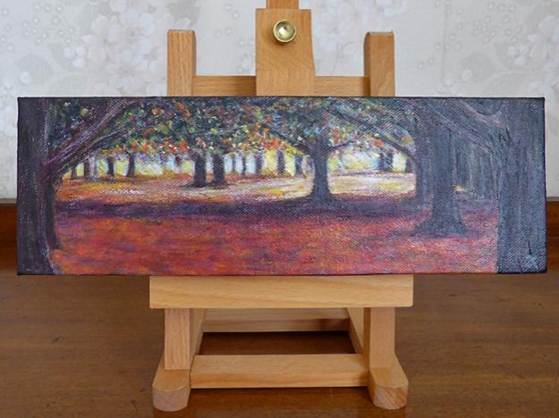 Through the trees — acrylic on canvas, 100 x 305 mm, 2014
