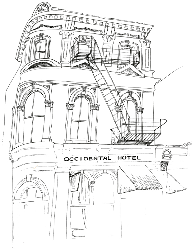 Occidental Hotel sketch – ink on paper, 2010