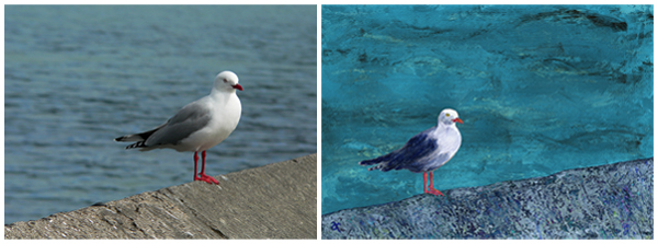 Seagull, Akaroa, 2012 and the original mixed media painting, 2013