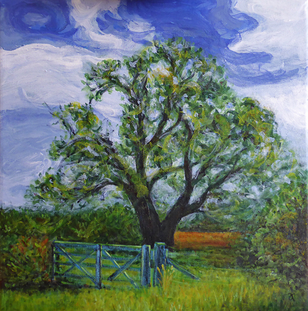 Country gate – acrylic on canvas, 405 x 405 mm, 2014