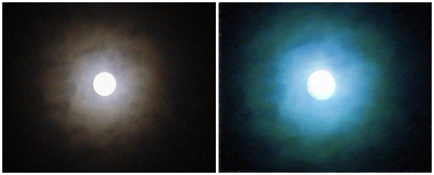 Full moon, original photograh (left) and digitally edited version (right) – Christchurch, 2004