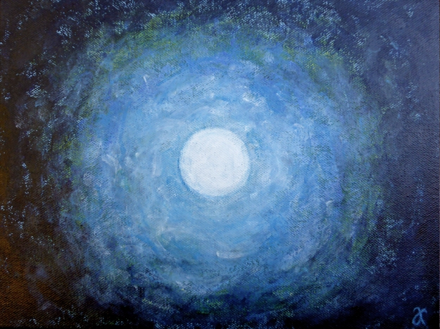 Blue moon – acrylic on canvas, 230 x 305 mm, 2014
