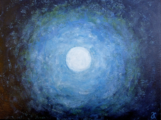 """Blue Moon"" 2014 $120 USD, free shipping Size: 9 x 12 inches (230 x 305 mm) Medium: acrylic paint and gloss varnish Support: stretched canvas, deep, profile, wired and ready to hang unframed"