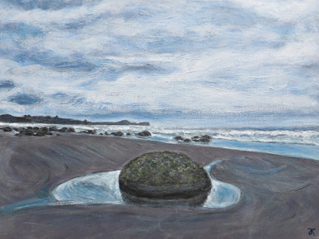 """Moeraki Boulders (One)"" $225 USD, free shipping Size: 12 x 16 inches (305 x 405 mm) Medium: acrylic paint and satin varnish Support: stretched canvas, deep profile, wired and ready to hang unframed"