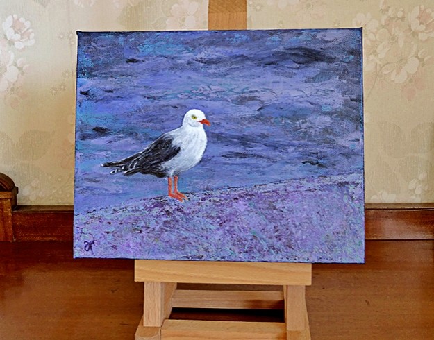 """""""Seagull"""" June 2014 $120 USD, free shipping Size: 8 x10 inches (205 x 255 mm) Medium: acrylic paint and gloss varnish Support: stretched canvas, deep profile, wired and ready to hang unframed"""