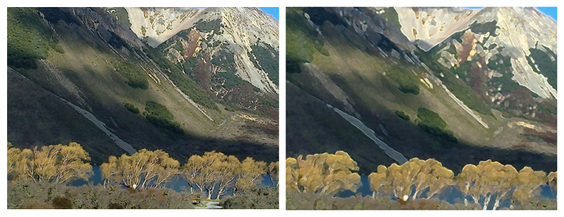 Ghost trees, Arthur's Pass, original photo, 2013 — Cropped and Photoshopped, 2014 (click to embiggen)