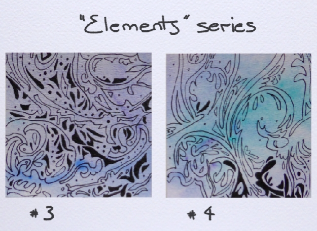 """""""Elements"""" series USD$20 each, sold separately 3 x 3 inches (75 x 75 mm) ink and watercolour, unmatted and unframed"""