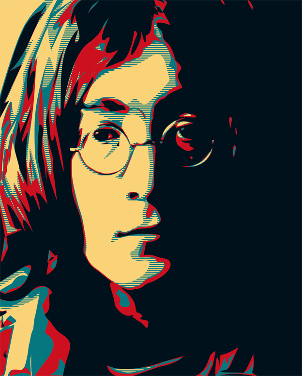 John Lennon poster 1 — digital illustration, 2011