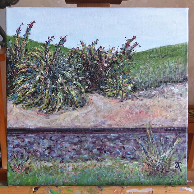 Sidetracked – acrylic on canvas, 305 x 305 mm, 2014