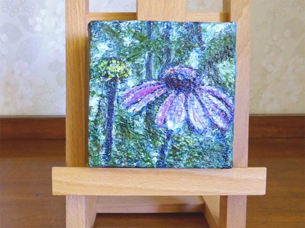 """""""The Purple Garden"""" 2014 $35 USD, free shipping Size: 4 x 4 inches (102 x 102 mm) Medium: acrylic paint and satin varnish Support: stretched canvas, deep profile"""