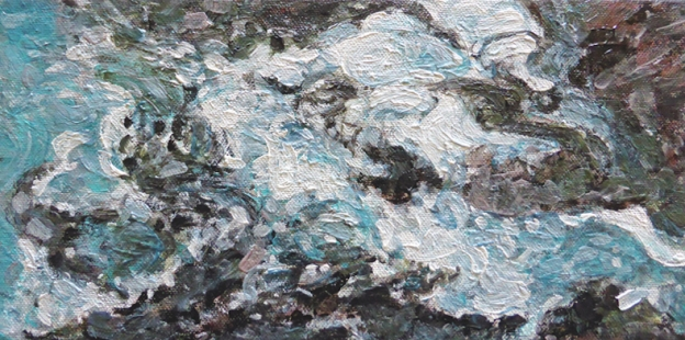 """""""Ebb and Flow"""" $45 USD (free shipping) 6 x 12 inches (150 x 305 mm) acrylic on deep-profile stretched canvas"""