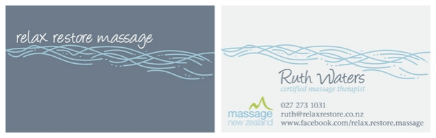 Relax Restore Massage business card © 2014 Ruth Waters