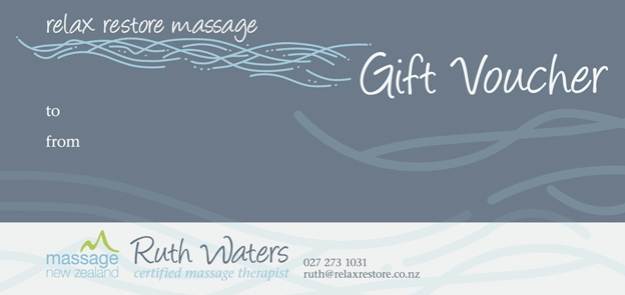 Relax Restore Massage gift voucher © 2014 Ruth Waters