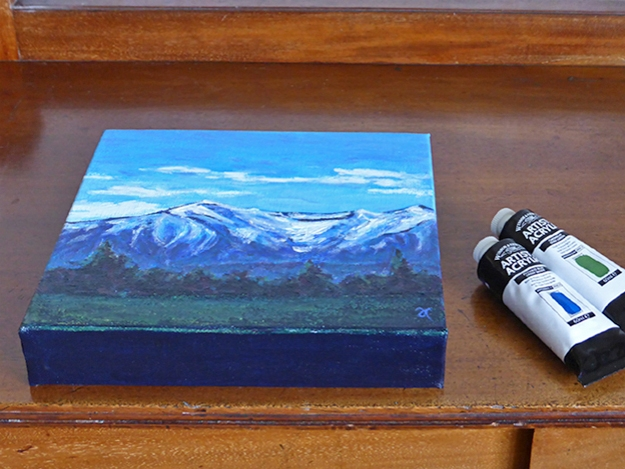 Southern Alps, Oxford – acrylic on canvas, 204 x 204 mm, 2014