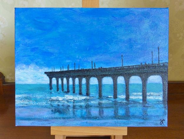 New Brighton Pier, Christchurch — acrylic on canvas, 230 x 305 mm, 2014