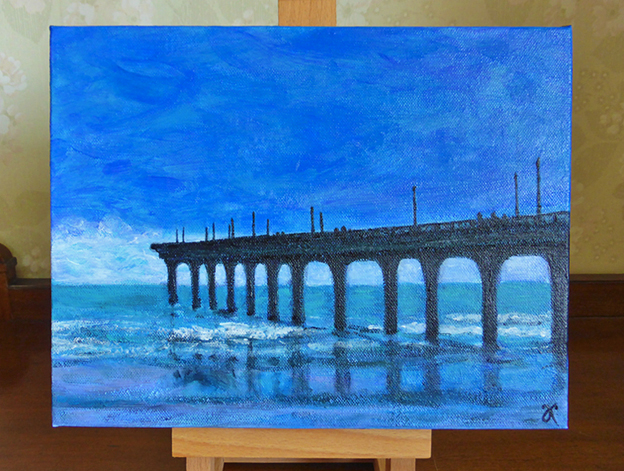 New Brighton Pier, Christchurch — acrylic on canvas, 230 x 305 mm, 2014