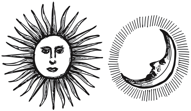 Sun and Moon — ink illustrations, 2011