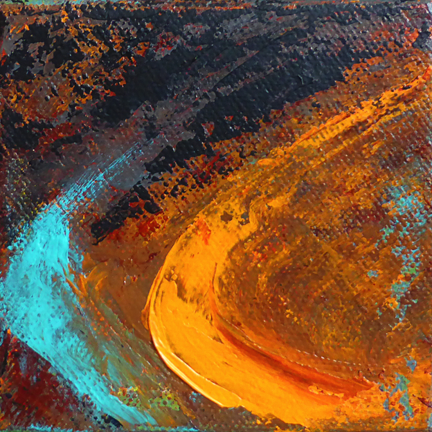 Time slip – acrylic on canvas, 102 x 102 mm, 2014 (for sale)