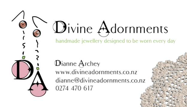 Divine Adornments business card © 2014 Dianne Archey
