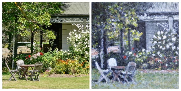 Godley House — original photograph, 2007; A Quiet Corner — acrylic on canvas, 152 x 152 mm, 2014 (not for sale)