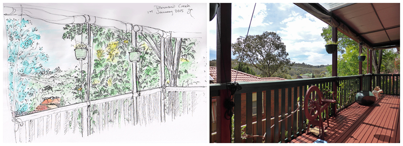 Diamond Creek sketch, ink and watercolour, 2015; photograph of the view that inspired the sketch