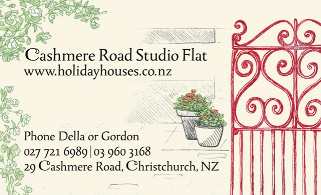 Cashmere Road Studio Flat business card © 2015 Della & Gordon