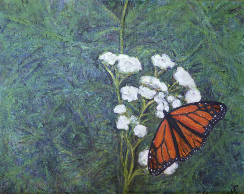 Monarch – acrylic on canvas, 405 x 510 mm, 2015. For sale at The Christchurch Art Show, June 2015.