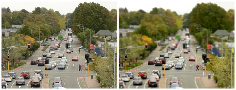 Straven Road photograph with 'tilt shift' effect – Christchurch, 2013