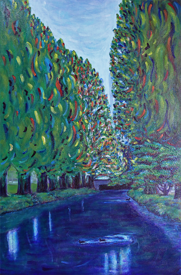 Thursday (Avon River) – acrylic on canvas, 510 x 760 mm, 2015. For sale at The Christchurch Art Show, June 2015.