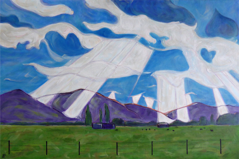 Landscape in the late afternoon (with cows) – acrylic on canvas, 510 x 760 mm, 2015. For sale at The Christchurch Art Show, June 2015.