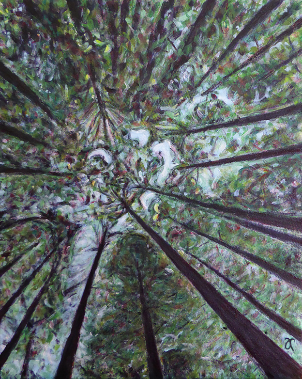 Things are looking up – acrylic on canvas, 510 x 405 mm, 2015. For sale at The Christchurch Art Show, June 2015.